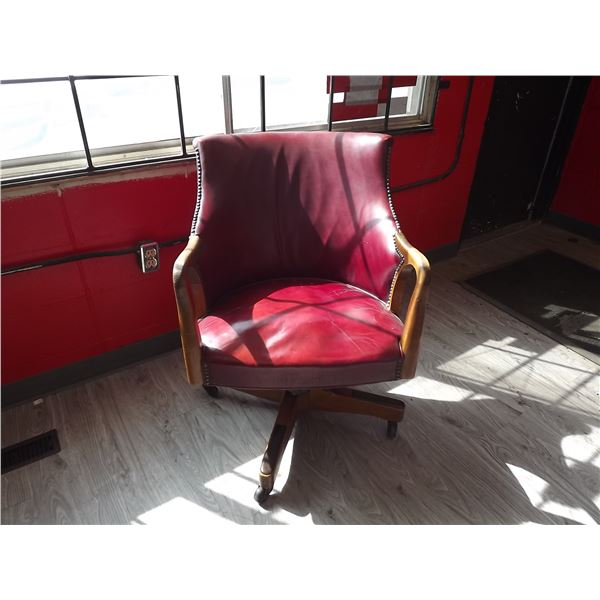 Antique Red leather bankers chair (BC)