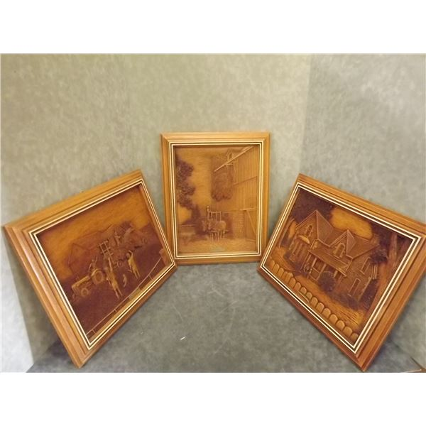 Set of 3 Kim Murray Faux wood carvings framed (D&M)