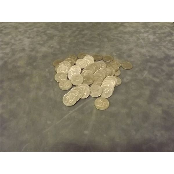 Large lot of collector circulated 50 cent pieces. 56 coins in all. (D&M)