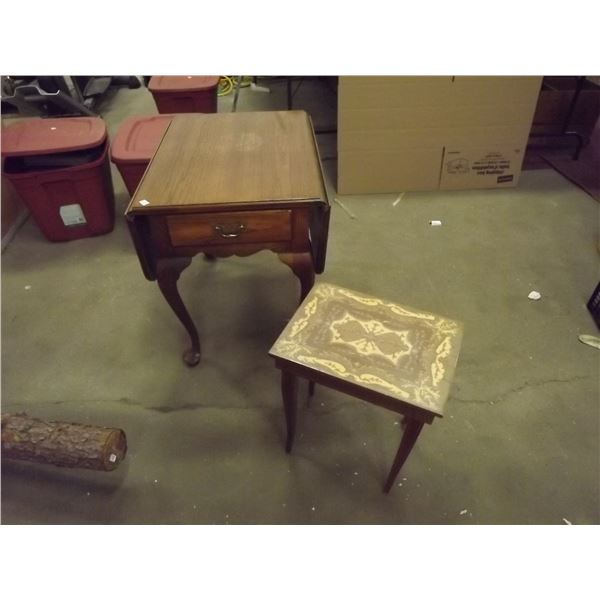 1 Drop-leaf Queen Anne Table with Music end table/Parquet inlay Vintage (D&M)