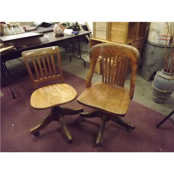 2 wooden antique office chairs (O)