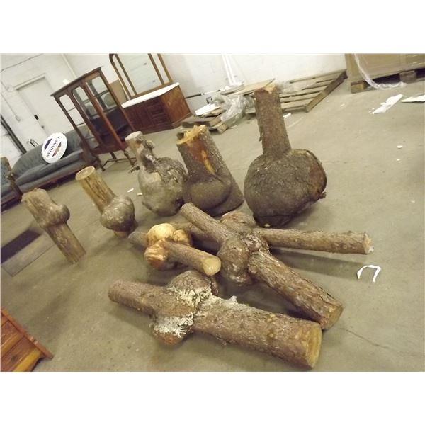Lot of 9 large wooden pine burls (O)