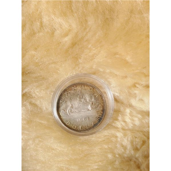 1966 Canadian Silver (80%) Dollar coin circulated (0)