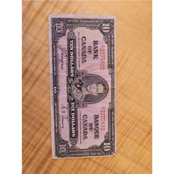 1937 Canadian 10 Dollar Bill. Circulated (O)