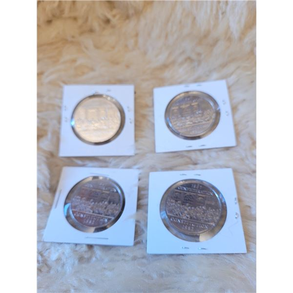 4 - 1982 Confederation Dollar coins. Non Precious Metal. Uncirculated (O)