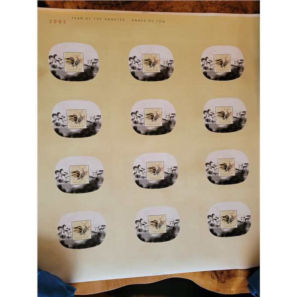 Uncut pressed sheet Canadian stamps. 12 - $1.45 stamps. 2005 year of the rooster (O)