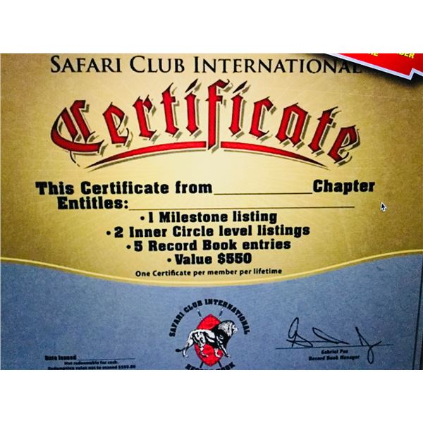 SCI Record Book Entries certificate.