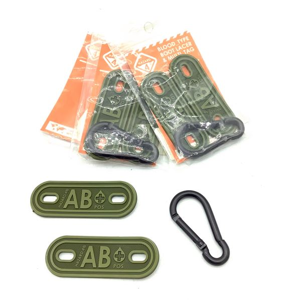 3 Packages x Hazard 4 Blood Type Lacer & Multi Tag, Type AB+, New