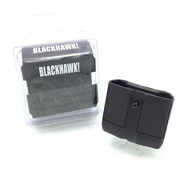 BlackHawk 410510 PBK Single Stack Double Magazine Case, Blk, New