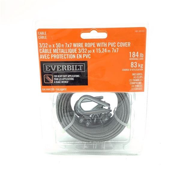 """Everbilt Galvinized Wire Rope With PVC Cover 3/32"""" X 50', New"""