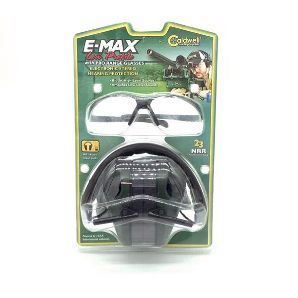 Caldwell E-Max Low Profile 23 NRR Earmuffs and Pro Range Glasses, New