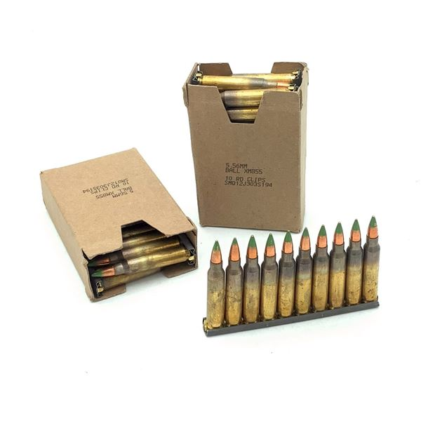Federal 5.56 mm Ball FMJ Ammunition on Stripper Clips, 60 Rounds