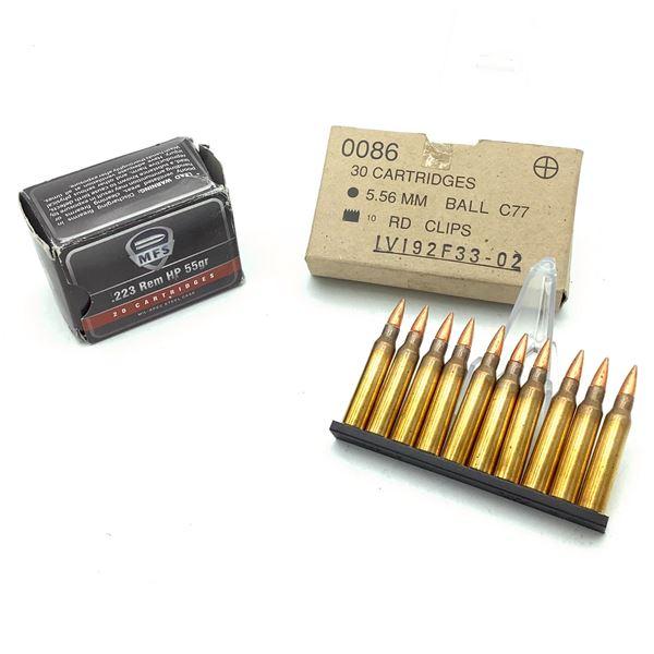 IVI 5.56 Ball Ammunition on Stripper Clips, 30 Rds, MFS 223 Rem 55 Grain HP Ammunition, 20 Rds