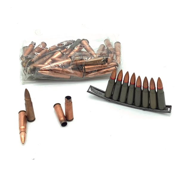 Loose Surplus 7.62 X 39 FMJ Ammunition, 50 Rounds, 1 Stripper Clip and 4 Cases