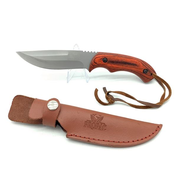 """Propac Fixed 4 1/2"""" Blade with Leather Sheath"""