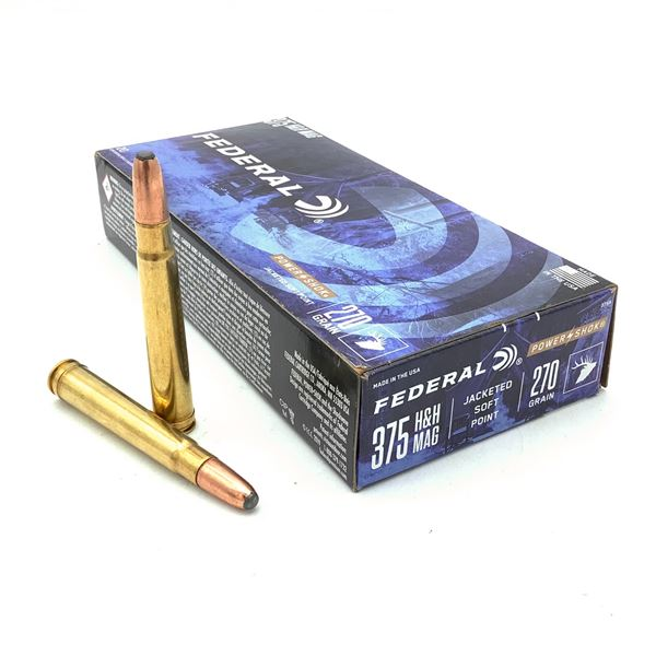 Federal Power Shok 375 H + H Mag 270 Grain JSP Ammunition, 20 Rounds