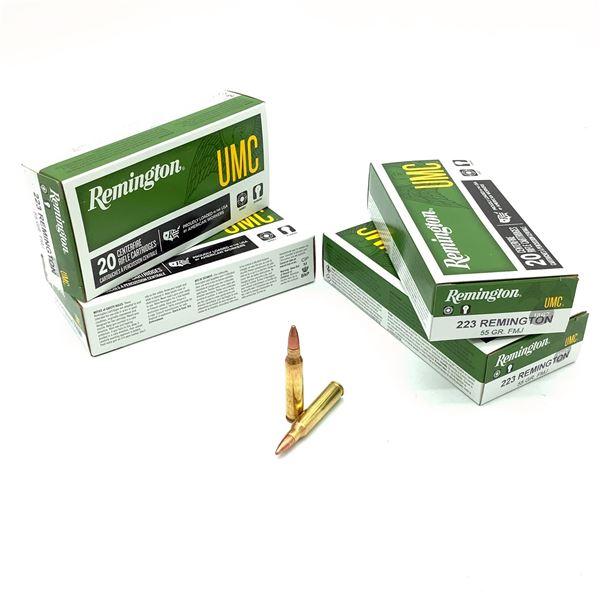 Remington UMC 223 Rem 55 Grain FMJ Ammunition, 80 Rounds