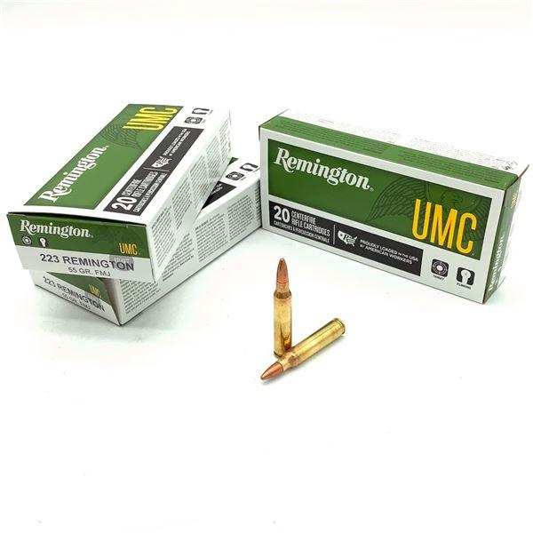 Remington UMC 223 Rem 55 Grain FMJ Ammunition, 60 Rounds