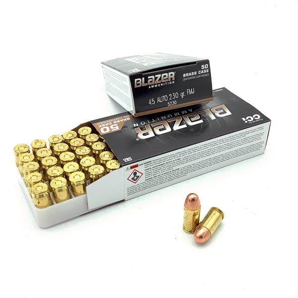 CCI Blazer Brass 45 ACP 230 Grain FMJ Ammunition, 100 Rounds