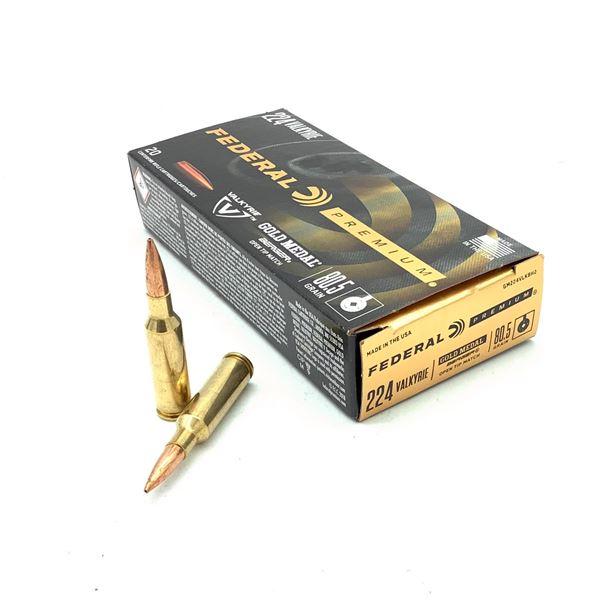 Federal Premium 224 Valkyrie Gold Medal Berger 80.5 Grain OTM Ammunition, 20 Rounds