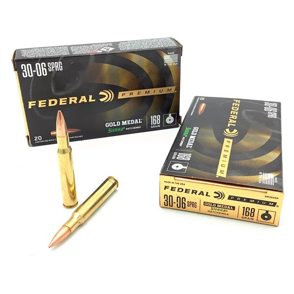 Federal Premium Gold Medal Sierra Match King 30-06 SPRG 168 Grain Ammunition, 40 Rounds