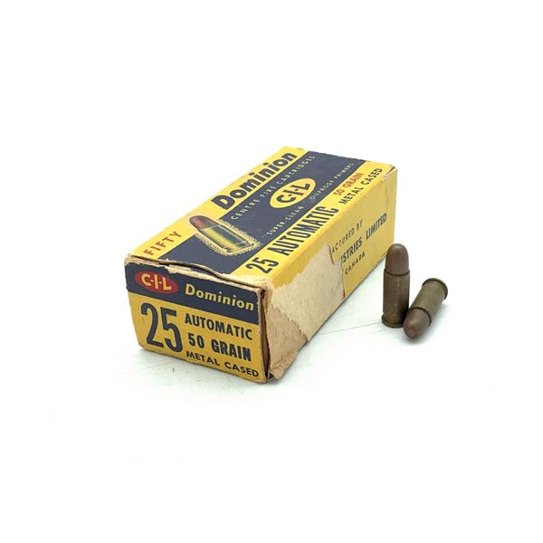 Dominion CIL 25 Auto FMJ RN Ammunition, Approx 45 Rounds