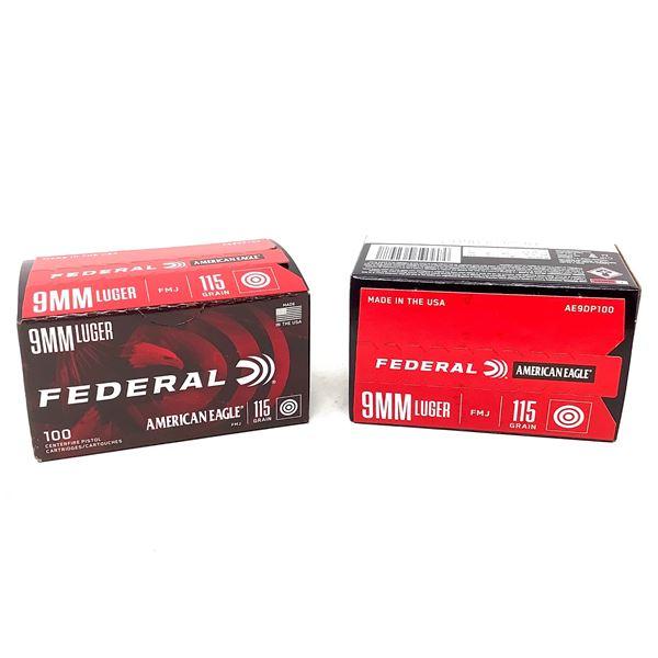 Federal American Eagle 9mm Luger 115 Grain FMJ Ammunition, 200 Rounds