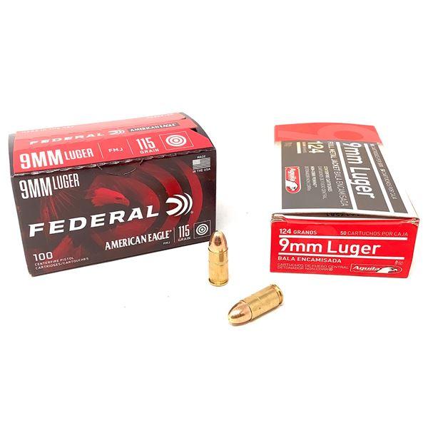 Federal American Eagle 9mm 115 Grain FMJ, 100 Rds and Aguila 9mm 124 Grain FMJ Ammunition, 45 Rds