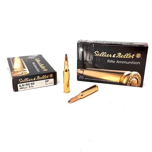 Sellier and Bellot 6.5 X 55 SE 140 Grain SP Ammunition, 40 Rounds