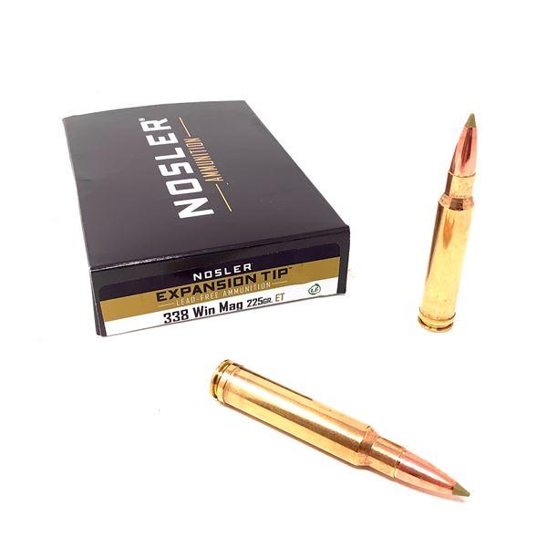 Nosler Expansion Tip 338 Win Mag 225 Grain Ammunition, 20 Rounds