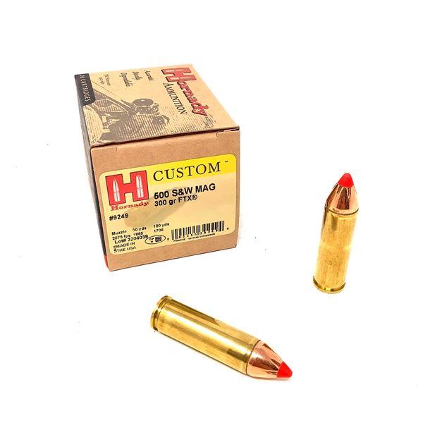 Hornady Custom 500 S & W Mag 300 Grain FTX Ammunition, 20 Rounds