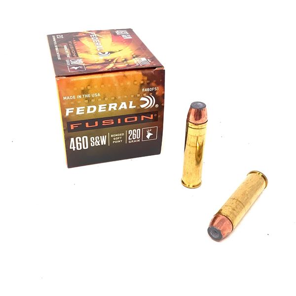 Federal Fusion 460 S & W 260 Grain Bonded Soft Point Ammunition, 20 Rounds