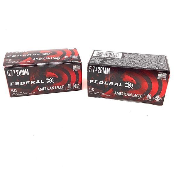 Federal American Eagle 5.7 X 28 mm 40 Grain FMJ Ammunition, 100 Rounds