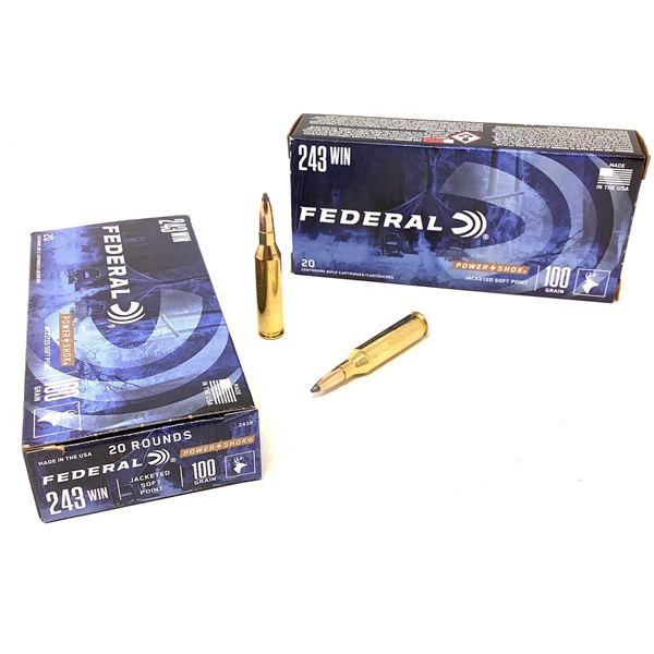 Federal Power Shok 243 Win 100 Grain JSP Ammunition, 40 Rounds