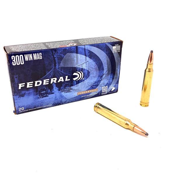 Federal Power Shok 300 Win Mag 180 Grain JSP Ammunition, 20 Rounds
