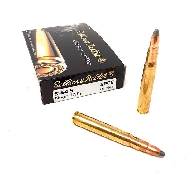 Sellier & Bellot 8 X 64 S 196 Grain SPCE Ammunition, 20 Rounds