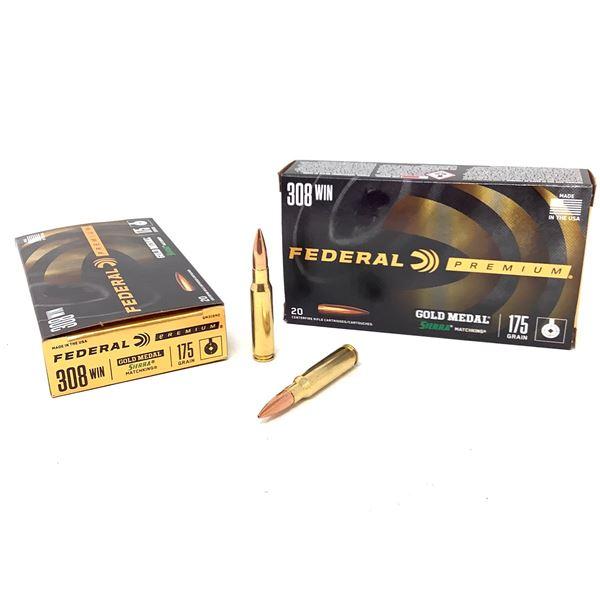 Federal Premium Gold Medal Sierra Match King 308 Win 175 Grain Ammunition, 40 Rounds