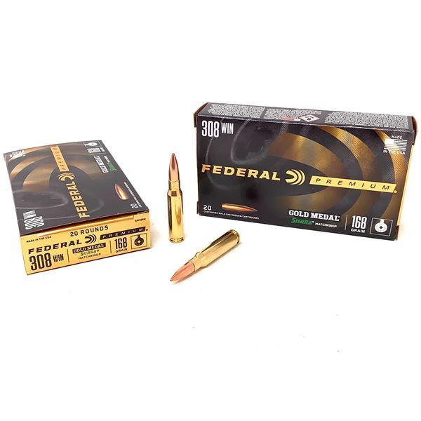 Federal Premium Gold Medal Sierra Match King 308 Win 168 Grain Ammunition, 40 Rounds