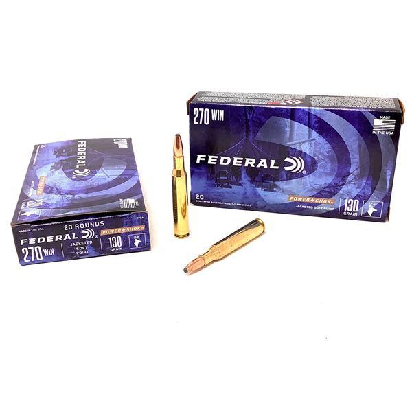 Federal Power Shok 270 Win 130 Grain JSP Ammunition, 40 Rounds