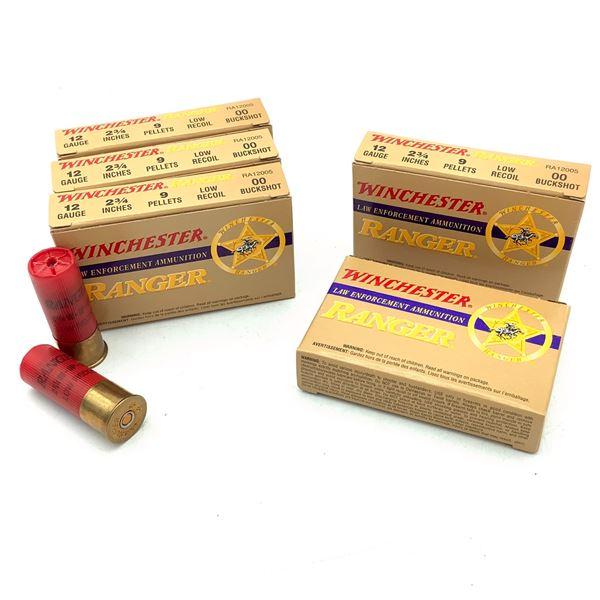 "Winchester LE Ranger Low Recoil 12 Ga 2 3/4"", 00 Buckshot Ammunition, 25 Rounds"
