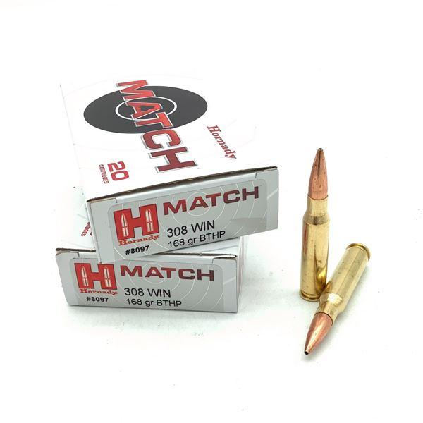 Hornady Match 308 Win 168 Grain BTHP Ammunition, 40 Rounds