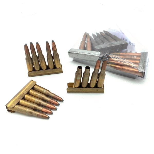 Loose 7.62 X 54 R Ammunition On Stripper Clips, 39 Rounds