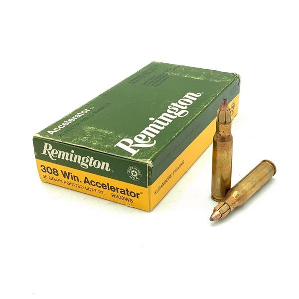 Remington 308 Win Accelerator 55 Grain SP Ammunition, 20 Rounds