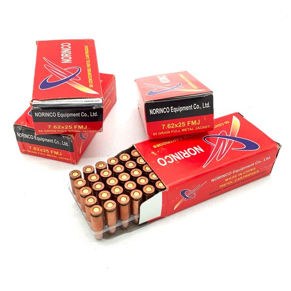 Norinco 7.62 X 25 85 Grain FMJ Ammunition, 200 Rounds