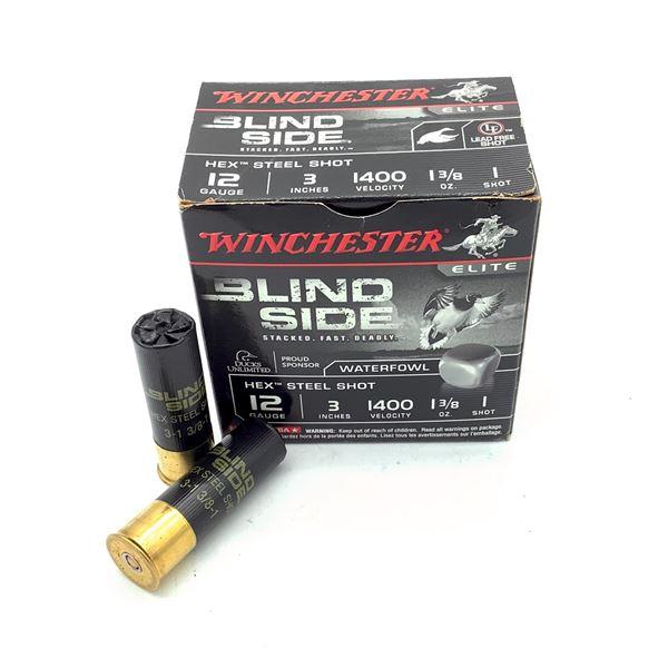 "Winchester Blind Side 12 Ga 3"" Hex Steel Shot #1 Ammunition, 21 Rounds"