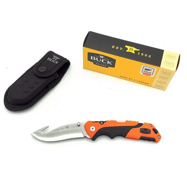 "Buck Pursuit Folding 3 1/2"" Blade with Gut Hook and Nylon Sheath, Orange, New"