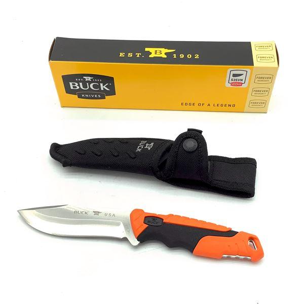 "Buck Pursuit 4 1/2"" Fixed Blade With Nylon Sheath, Orange, New"