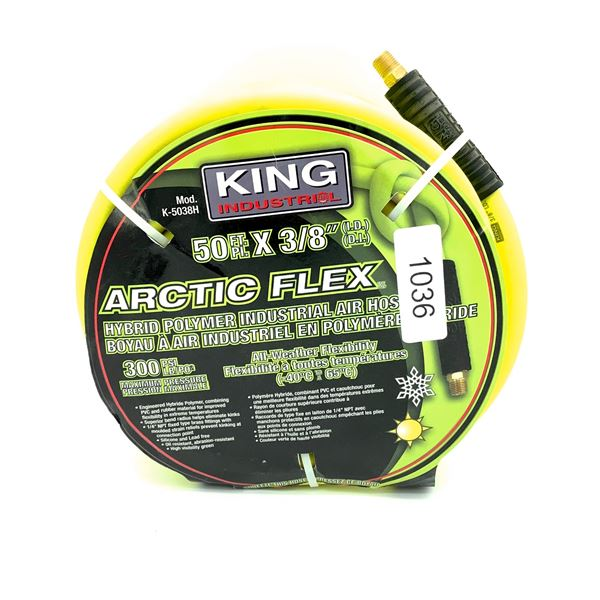 "King Industrial Arctic Flex Hybrid Polymer Air Hose, 50 Ft x 3/8"" Diameter, New"
