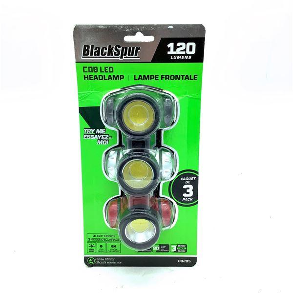 Blackspur COB LED Headlamp, 3 Pack, New