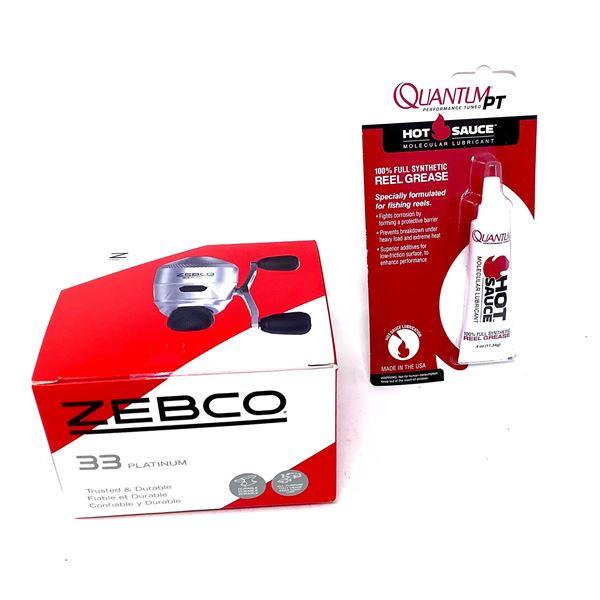 Zebco 33 Platinum Reel, 5 Bearing and Quantum Hot Sauce, New